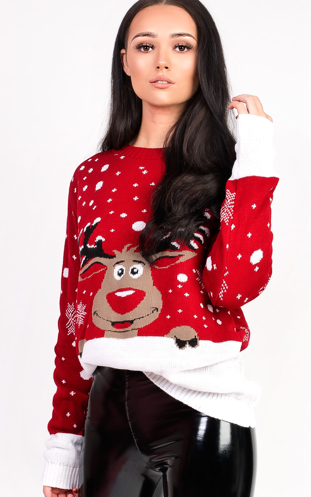 a8a7f65593 IKRUSH Women s Noel Oversized Slogan Christmas Jumper in RED Size M ...