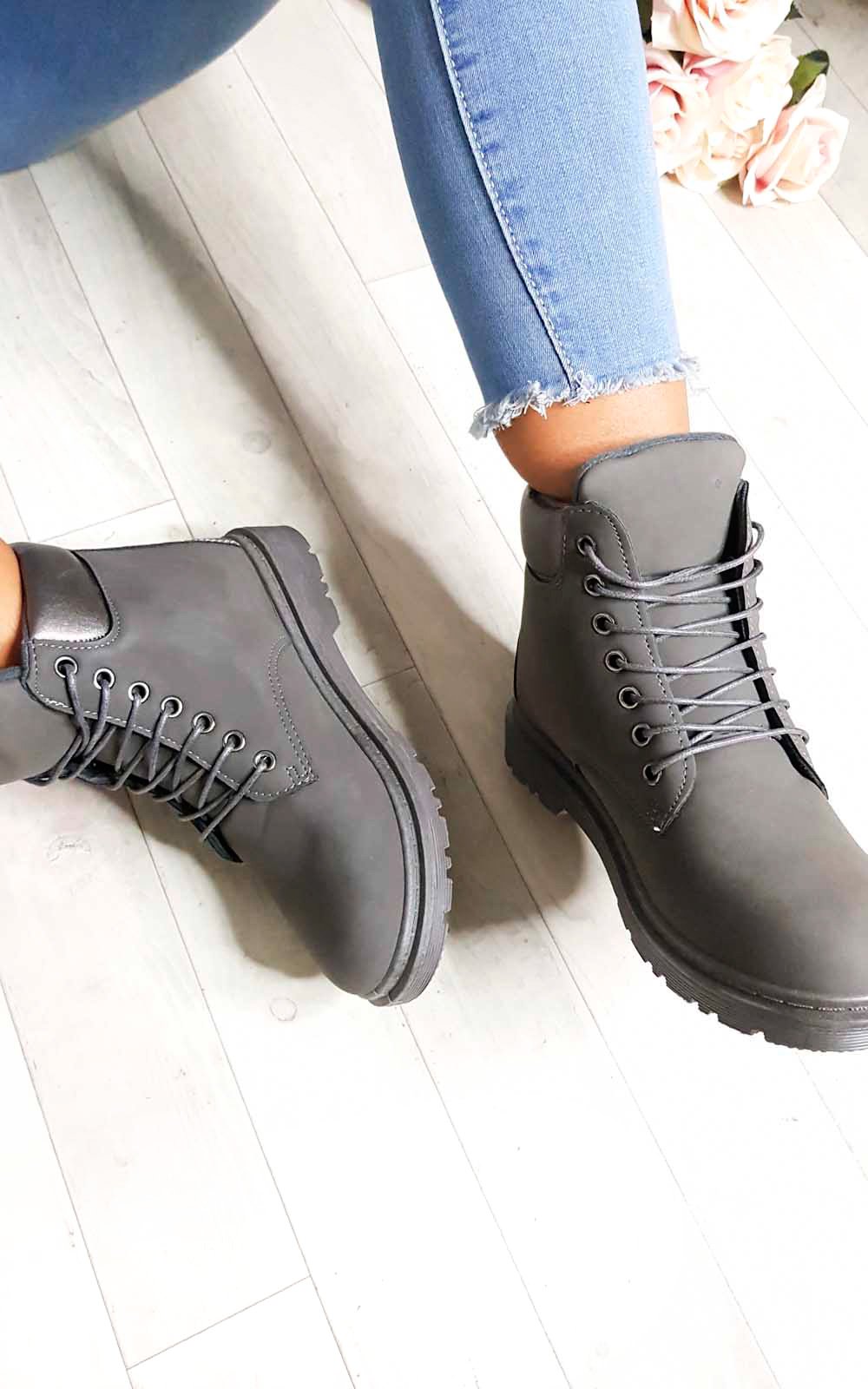 Ella Lace Up Boots in Grey