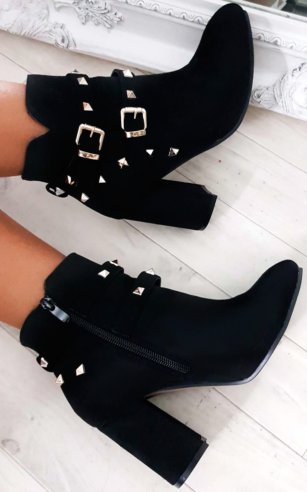 Haley Studded Ankle Boots in Black
