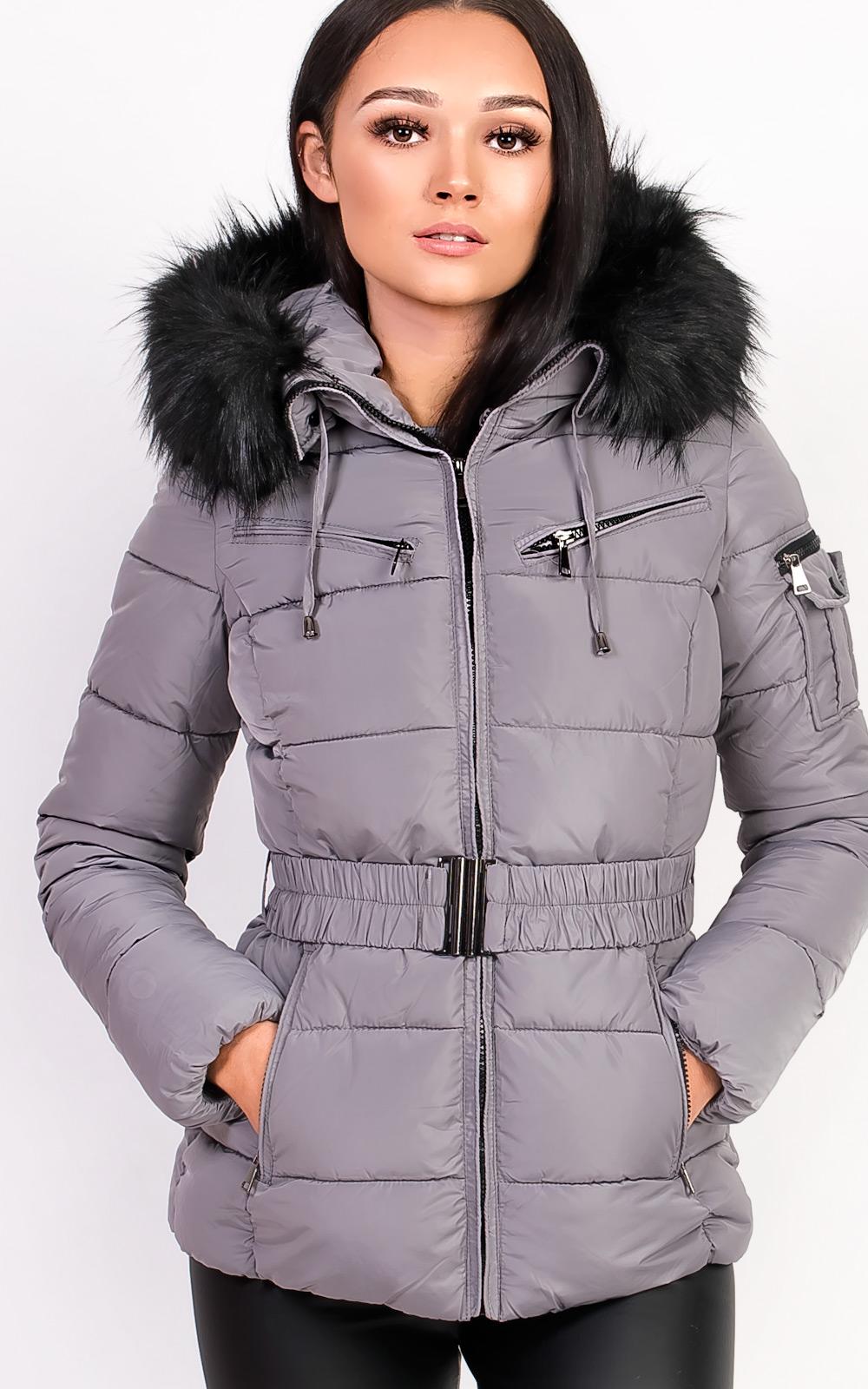 6c9a1cd01f257 IKRUSH Womens Hadid Padded Faux Fur Hooded Jacket GREY UK XL ...