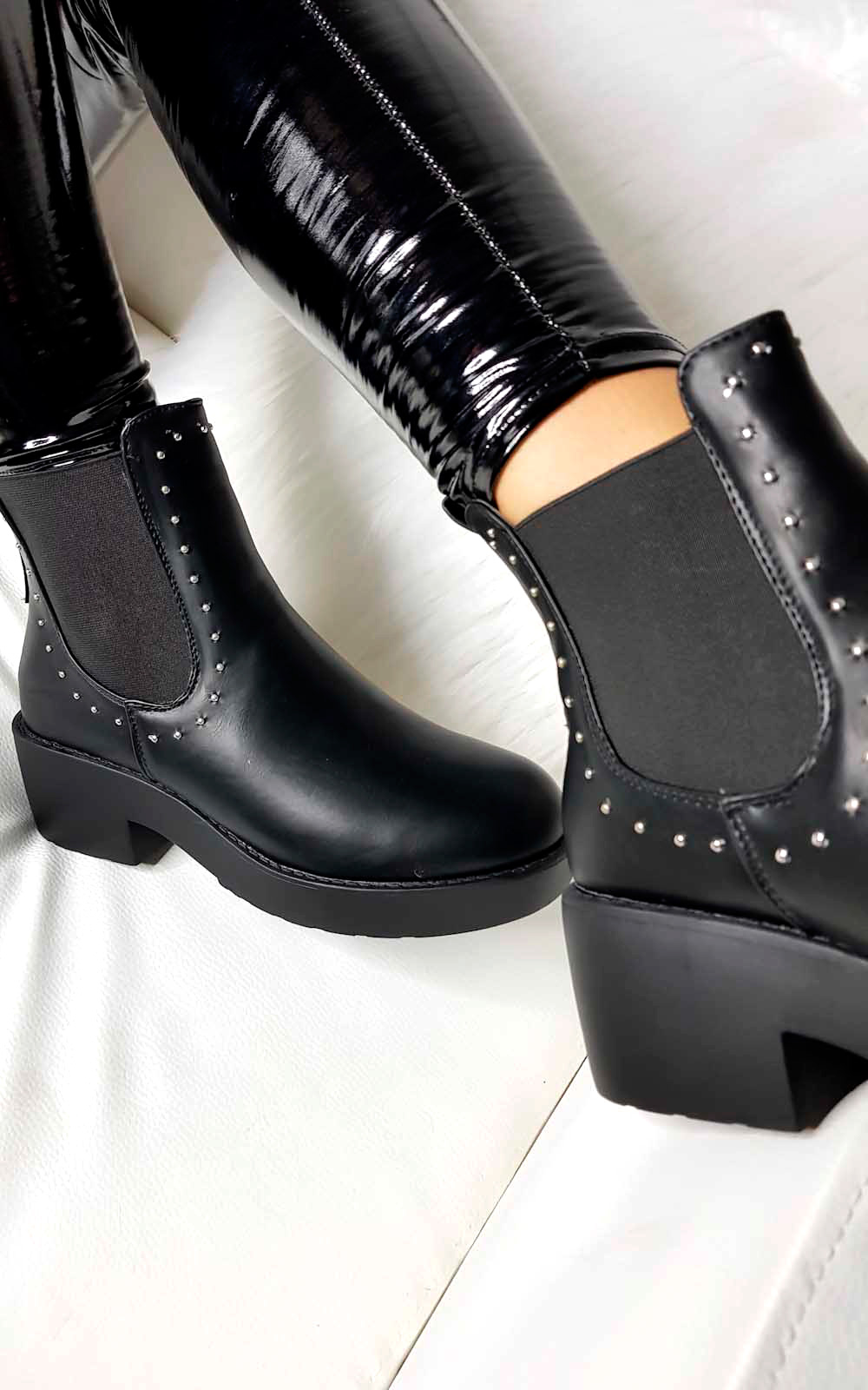 Faye Studded Chelsea Faux Suede Ankle Boots in Black
