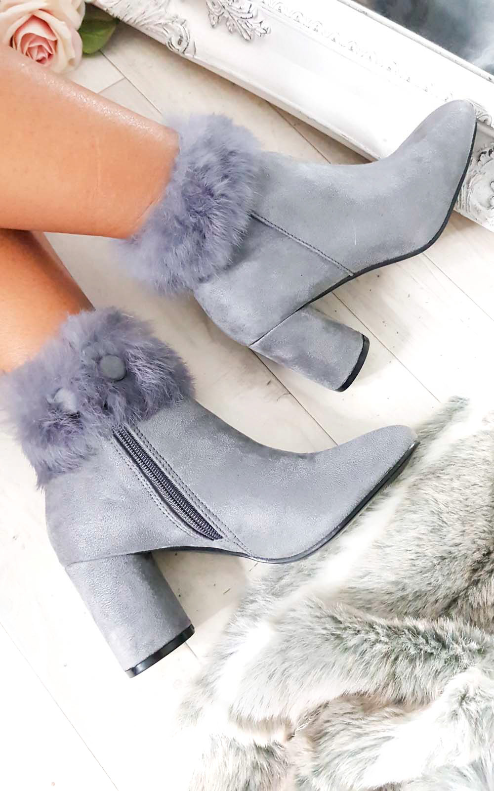 Bambi Faux Suede Heeled Ankle Boots in Grey