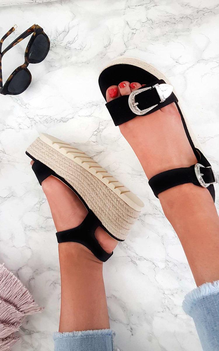d5d04d699 IKRUSH Women s Afia Double Buckle Flatform Sandals Size in BLACK Size 8
