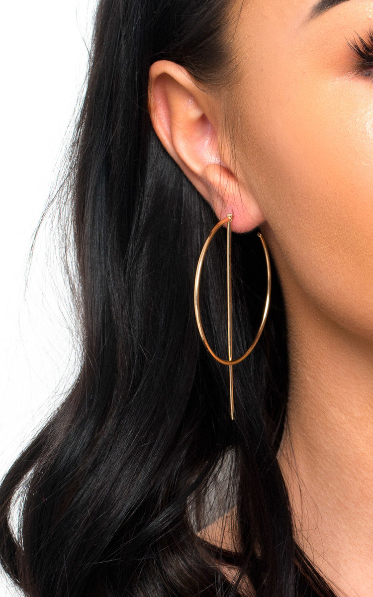 IKRUSH Womens Aoife Statement Hoop Earrings HOOP up. Our AOIFE earrings featuring all over gold plating  delicate hoop with post feature. GoldPost Backing