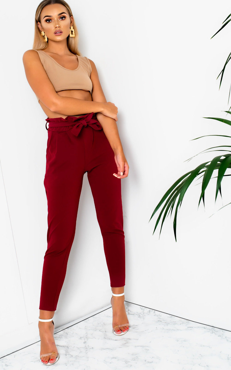 IKRUSH Womens Hayleigh Paperbag Tie Tailored Trousers