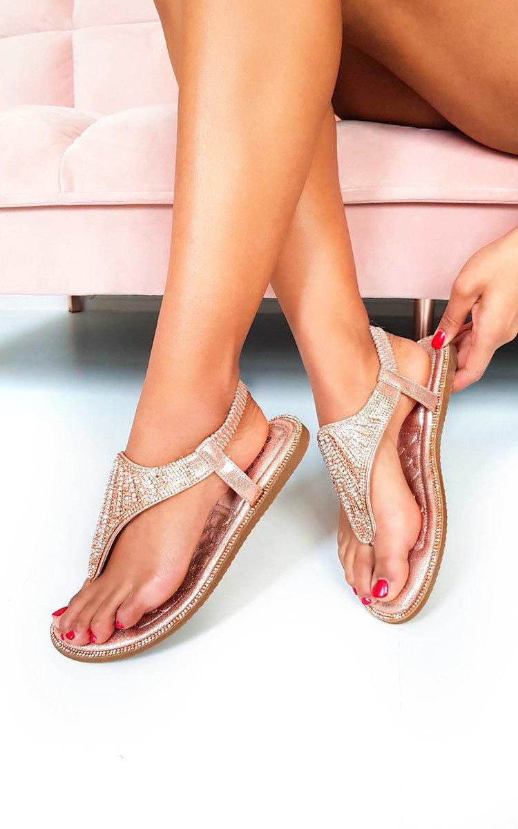 IKRUSH Womens Liliana Diamante Embellished T-Bar Sandals