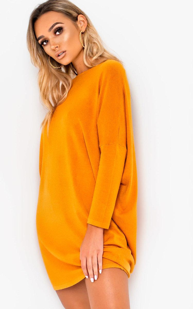fe24a8749d035 IKRUSH Women's Frankie Diamante Back Long Sleeved Jumper Dress in MUSTARD  Size