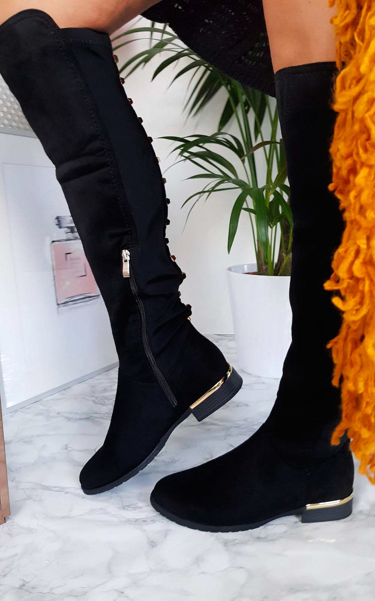 Womens Knee Suede Studded Over Boots Faux Hallie Ikrush 6Baqzfq