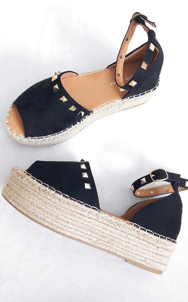 7091fe01c237 IKRUSH Women s Kandi Studded Espadrille Flatform Sandal Size in BLACK Size 7