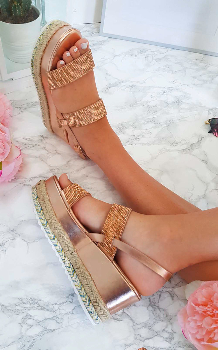 322cc59bed7 IKRUSH Women s Kesha Roped Flatform Diamante Sandals Size in ROSE GOLD Size  8