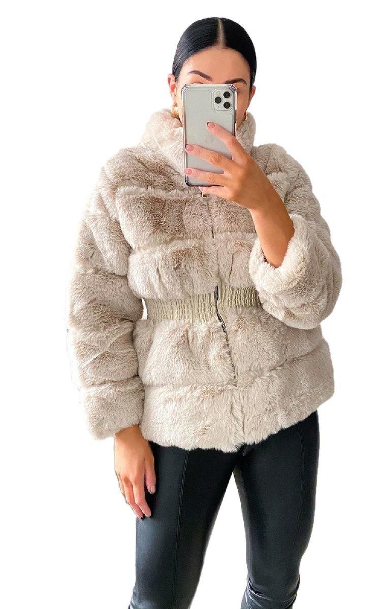 Missguided Premium Nude Faux Fur Coat in Natural - Lyst