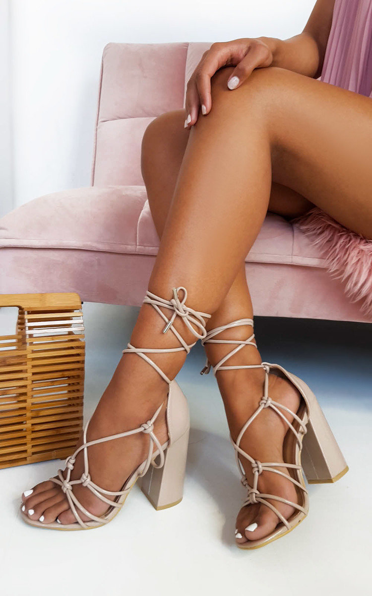 Details about IKRUSH Women's Maisie Tie Up Block Heels Size in Nude Size 8