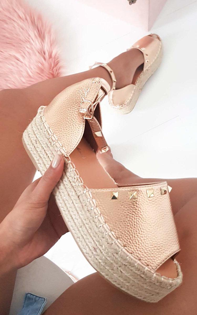 9d5b13d489e IKRUSH Women s Poppie Studded Peep Toe Espadrille Sandal Size in ROSE GOLD