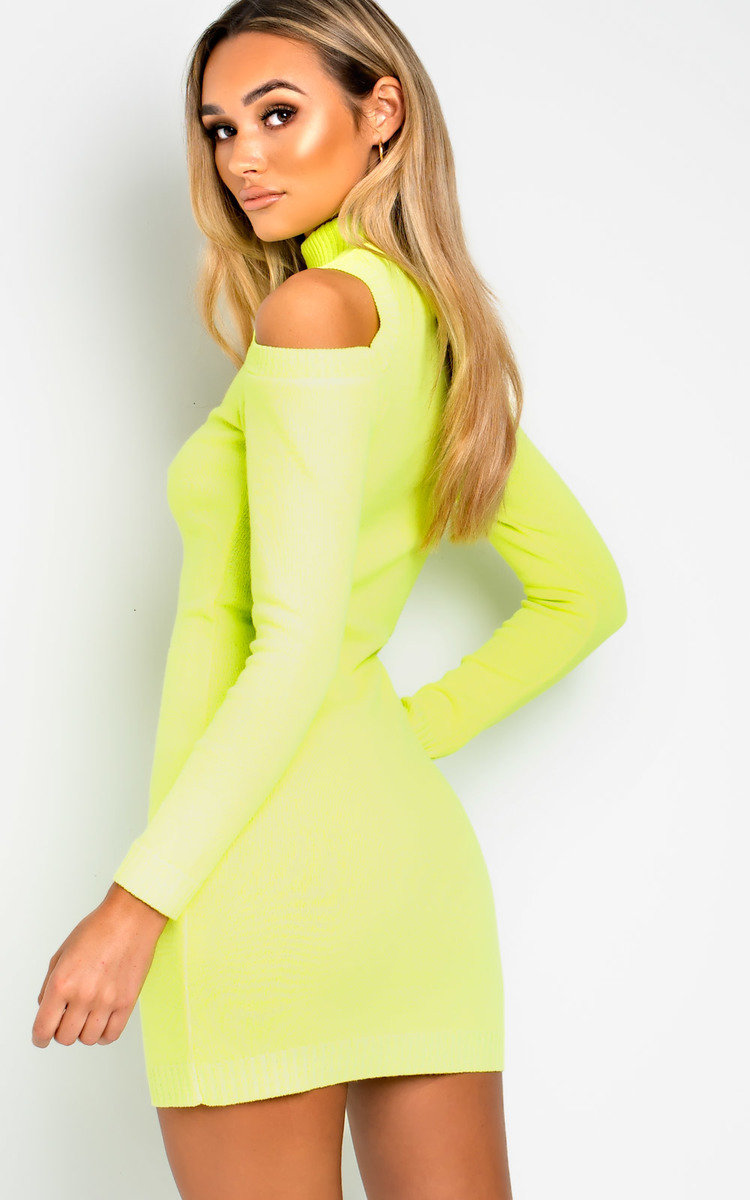71929a23f3 IKRUSH Women s Rizz Oversized Cold Shoulder Jumper Dress in NEON YELLOW Size