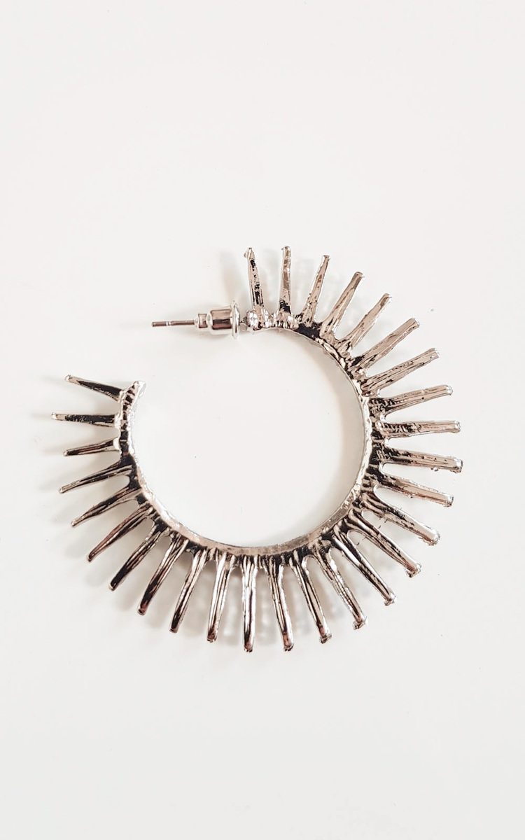 IKRUSH Womens Tasha Spike Hoop Earrings our TASHA earrings feature silver plating  all over spiked design  hoop shape and push backing.Diameter is approx 2 SilverPush Backing