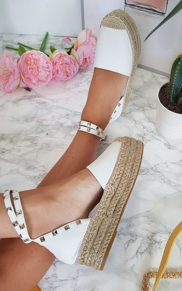 ad124e42d28 IKRUSH Women s Tilly Studded Espadrille Wedge Sandal Size in WHITE Size 7