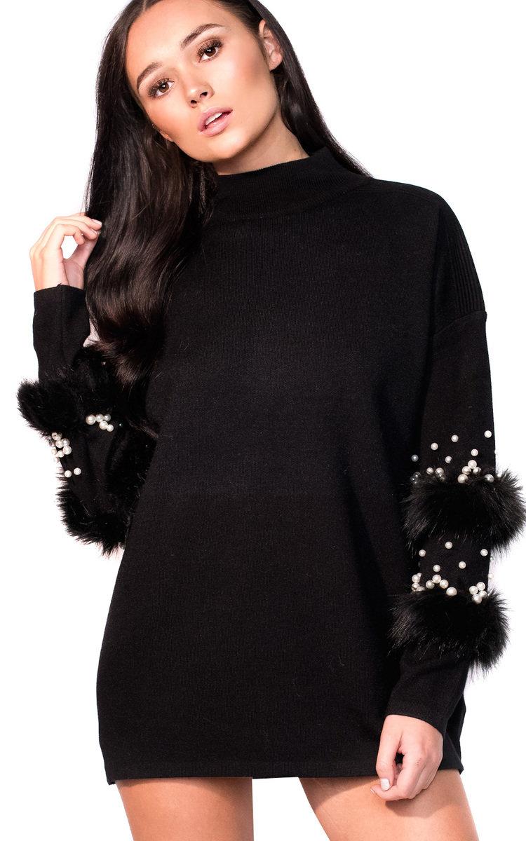 Black dress faux fur